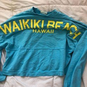 Blue Waikiki beach Hawaii crop long sleeve